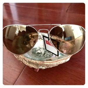 Accessories - Yellow Mirrored Lens Aviator Sunglasses